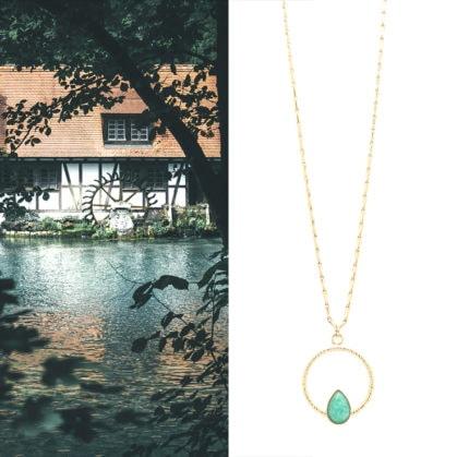 Collier feuillage amazonite lili aurelie joliff chez poisson plume bijoux