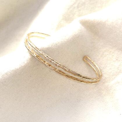 Double jonc justine effet froissé chez poissonplume bijoux C1200