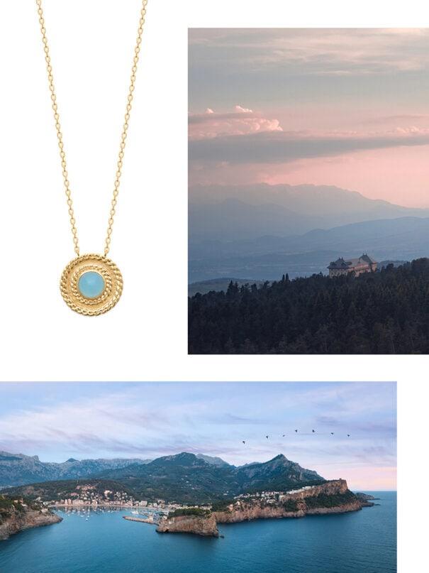 collier agate Lou medaille poissonplume bijoux