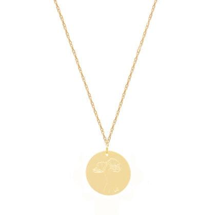collier poppy chérie médaille fleurs coquelicot