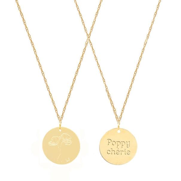 collier poppy chérie médaille fleurs coquelicot recto verso
