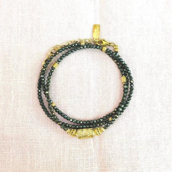 Collier devenant un bracelet trois tours amaia pyrite