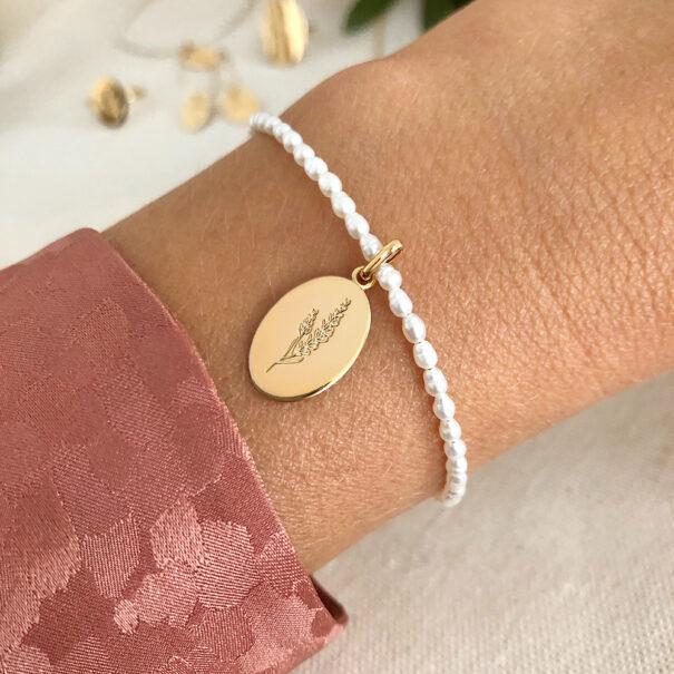 bracelet perles medaille lavande