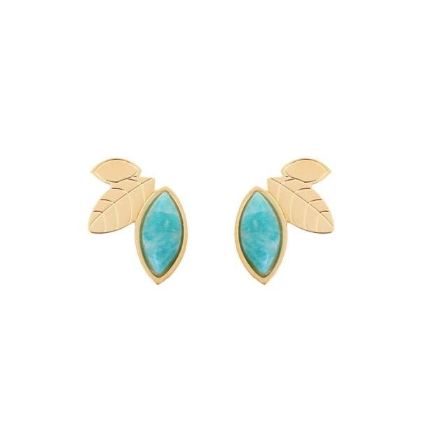 grandes puces d'oreilles hellébore amazonite