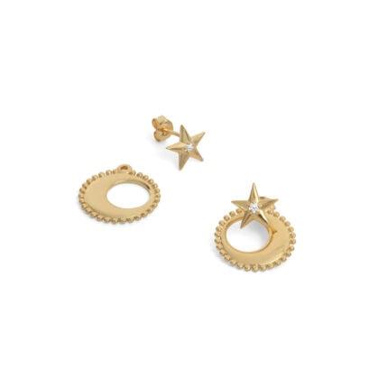 boucles d'oreilles moonstar ADV lune et etoile
