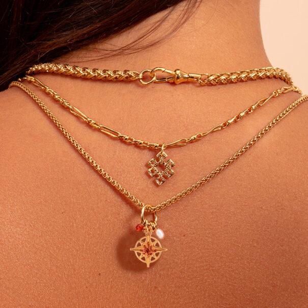 collier amulette cuivrée etoile du nord chez poissonplume bijoux
