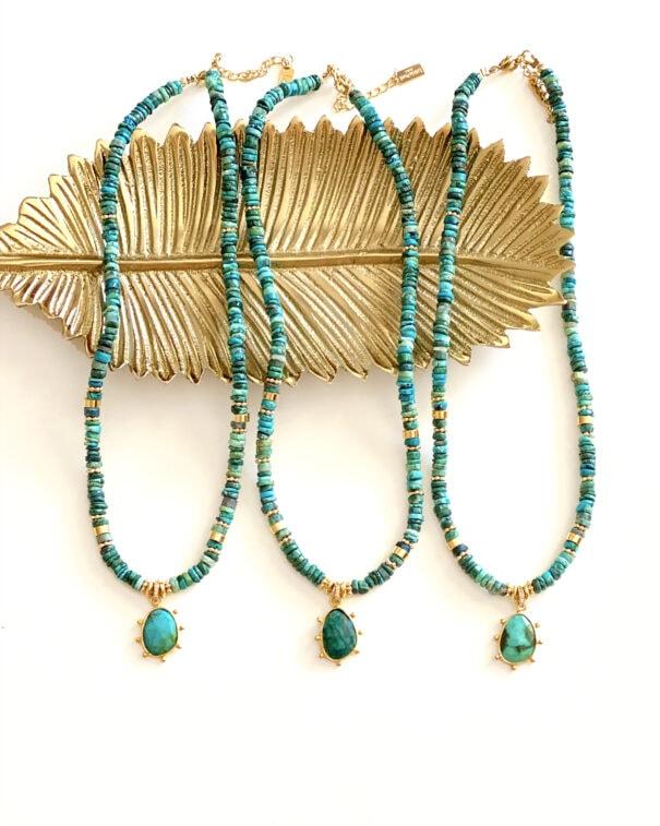 collier chocker heloise turquoise chez poissonplume bijoux