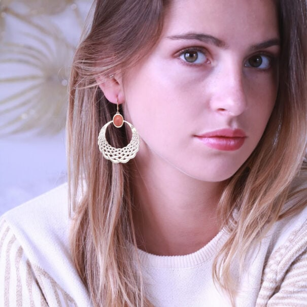 Boucles d'oreilles katniss rhodonite