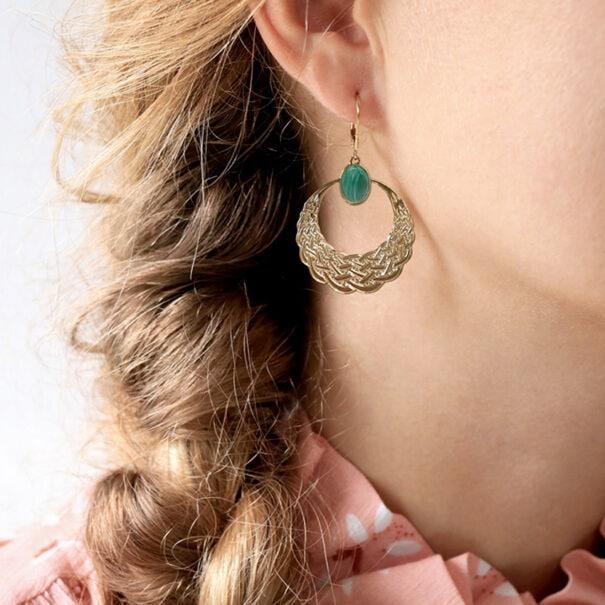 boucles d'oreilles Jay malachite
