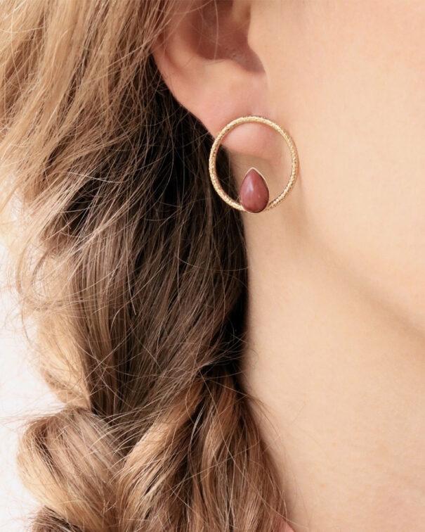 boucles d'oreilles eucalyptus rhodonite