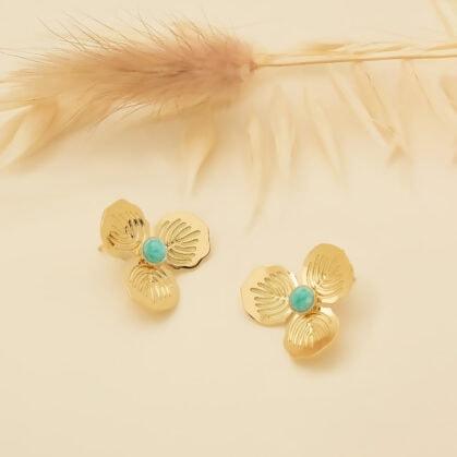 boucles d'oreilles fleurs freesia amazonite primavera