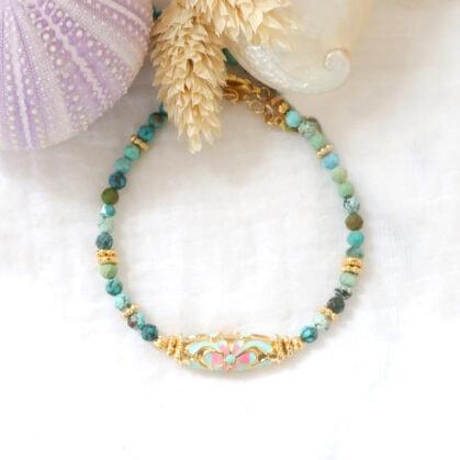 bracelet amaia fleur turquoise et rose