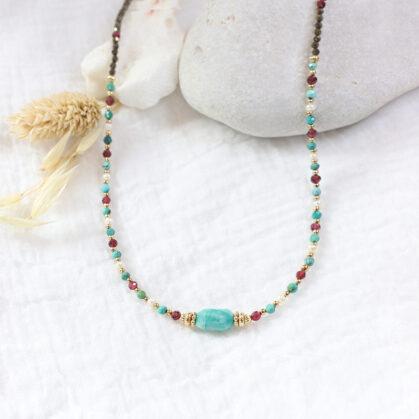 Collier Frida Amazonite multipierres Turquoise Grenat Perle