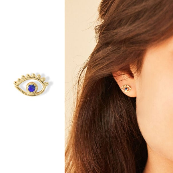 puces d'oreilles oeil ANJA lapis lazuli vermeil agnes de verneuil